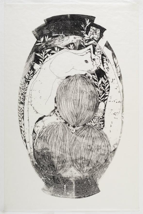 <b>שחר יהלום, שלישיה, 2015</b>, מונוטייפ שמן על נייר, 69X97 ס