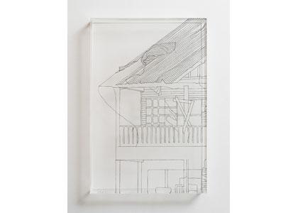 <b>טל אמיתי לביא, ללא כותרת, 2017</b>, חוט תפירה על פרספקס, 20X30 ס